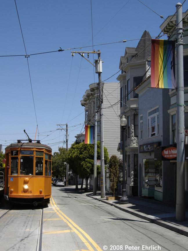 (181k, 648x864)<br><b>Country:</b> United States<br><b>City:</b> San Francisco/Bay Area, CA<br><b>System:</b> SF MUNI<br><b>Location:</b> Market/17th/Castro<br><b>Route:</b> F-Market<br><b>Car:</b> Milan Milano/Peter Witt (1927-1930) 1856 <br><b>Photo by:</b> Peter Ehrlich<br><b>Date:</b> 6/11/2008<br><b>Notes:</b> 17th Street/Castro.<br><b>Viewed (this week/total):</b> 0 / 627