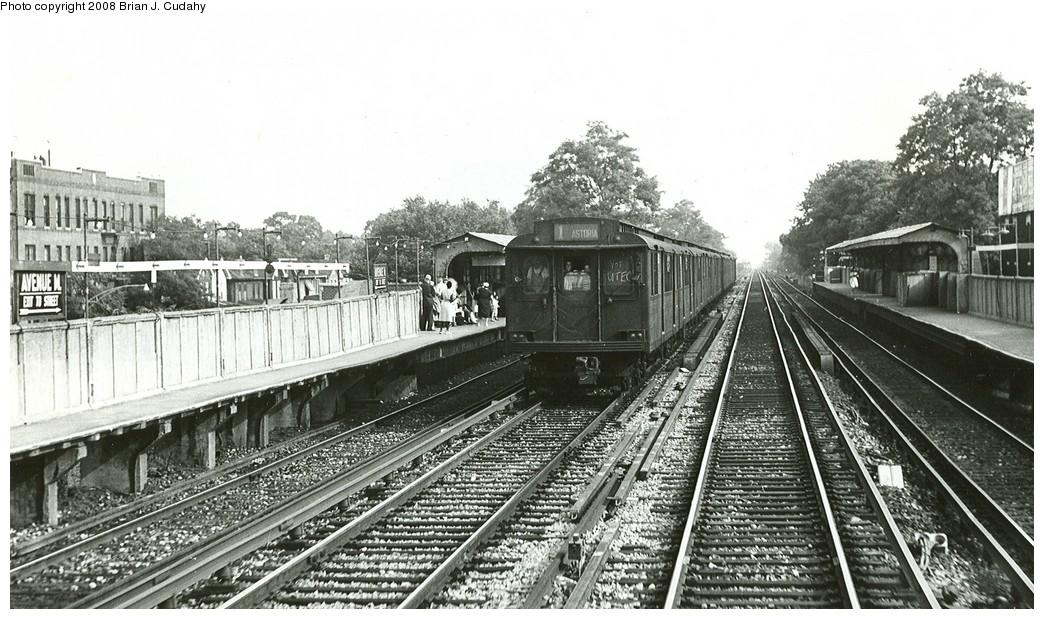 (215k, 1044x619)<br><b>Country:</b> United States<br><b>City:</b> New York<br><b>System:</b> New York City Transit<br><b>Line:</b> BMT Brighton Line<br><b>Location:</b> Avenue M<br><b>Car:</b> BMT D-Type Triplex  <br><b>Photo by:</b> Brian J. Cudahy<br><b>Date:</b> 1956<br><b>Notes:</b> Note new third rail awaiting installation.<br><b>Viewed (this week/total):</b> 1 / 2636