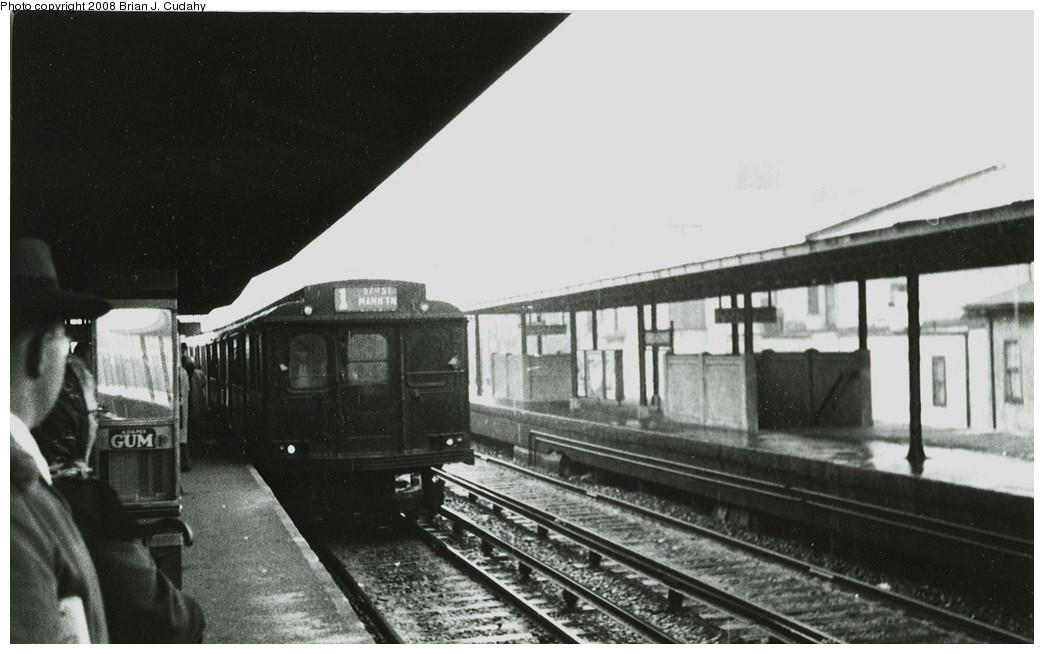 (172k, 1044x654)<br><b>Country:</b> United States<br><b>City:</b> New York<br><b>System:</b> New York City Transit<br><b>Line:</b> BMT Brighton Line<br><b>Location:</b> Kings Highway<br><b>Car:</b> BMT D-Type Triplex  <br><b>Photo by:</b> Brian J. Cudahy<br><b>Notes:</b> 57th Street bound Brighton Express at Kings Highway, c.1956.<br><b>Viewed (this week/total):</b> 0 / 2196