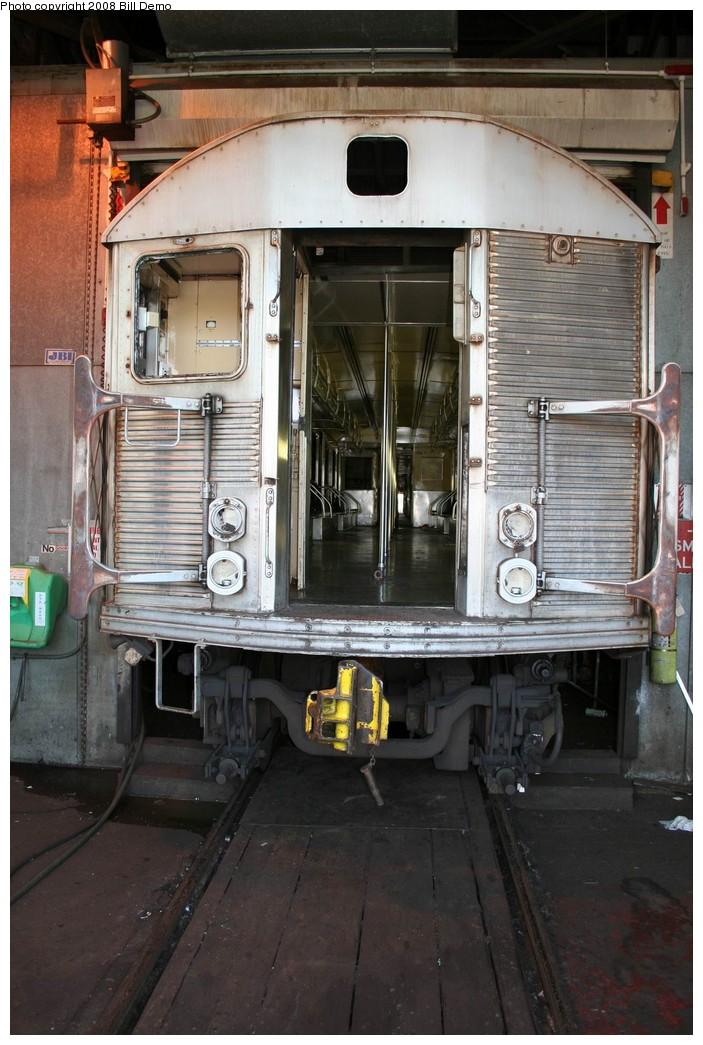 (203k, 703x1045)<br><b>Country:</b> United States<br><b>City:</b> New York<br><b>System:</b> New York City Transit<br><b>Location:</b> 207th Street Yard<br><b>Car:</b> R-32 (Budd, 1964)  <br><b>Photo by:</b> Pete Monty<br><b>Collection of:</b> Bill Demo<br><b>Date:</b> 6/16/2008<br><b>Notes:</b> Being stripped for scrapping.<br><b>Viewed (this week/total):</b> 0 / 2289