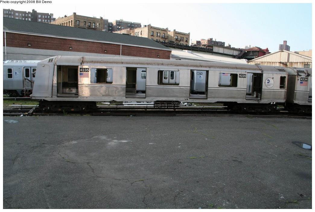 (201k, 1044x703)<br><b>Country:</b> United States<br><b>City:</b> New York<br><b>System:</b> New York City Transit<br><b>Location:</b> 207th Street Yard<br><b>Car:</b> R-40 (St. Louis, 1968) 4235 <br><b>Photo by:</b> Pete Monty<br><b>Collection of:</b> Bill Demo<br><b>Date:</b> 6/16/2008<br><b>Notes:</b> Being stripped for scrapping.<br><b>Viewed (this week/total):</b> 0 / 1904