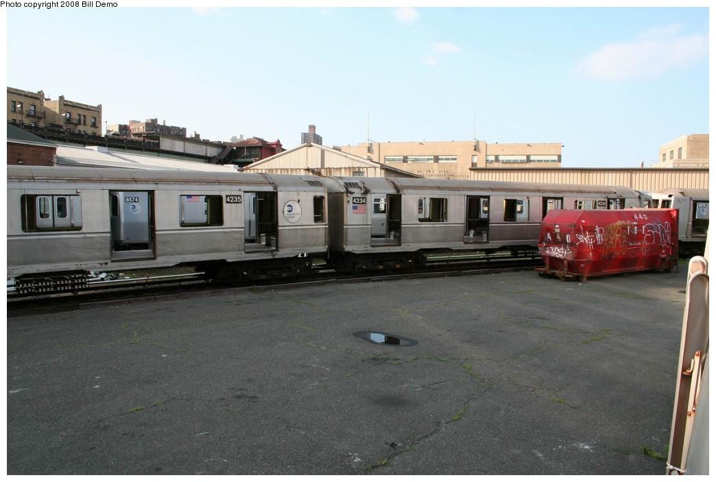 (175k, 1044x703)<br><b>Country:</b> United States<br><b>City:</b> New York<br><b>System:</b> New York City Transit<br><b>Location:</b> 207th Street Yard<br><b>Car:</b> R-40 (St. Louis, 1968) 4234 <br><b>Photo by:</b> Pete Monty<br><b>Collection of:</b> Bill Demo<br><b>Date:</b> 6/16/2008<br><b>Notes:</b> Being stripped for scrapping.<br><b>Viewed (this week/total):</b> 1 / 1902