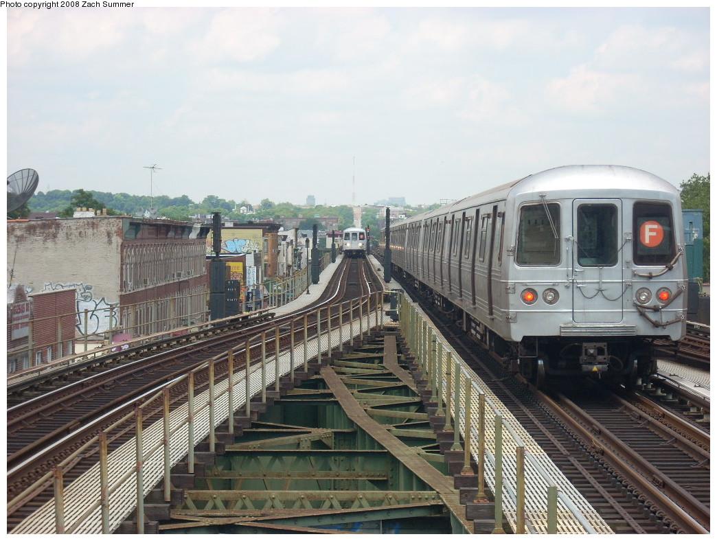 (276k, 1044x788)<br><b>Country:</b> United States<br><b>City:</b> New York<br><b>System:</b> New York City Transit<br><b>Line:</b> BMT Culver Line<br><b>Location:</b> 18th Avenue<br><b>Route:</b> F<br><b>Car:</b> R-46 (Pullman-Standard, 1974-75)  <br><b>Photo by:</b> Zach Summer<br><b>Date:</b> 6/30/2008<br><b>Viewed (this week/total):</b> 1 / 2063