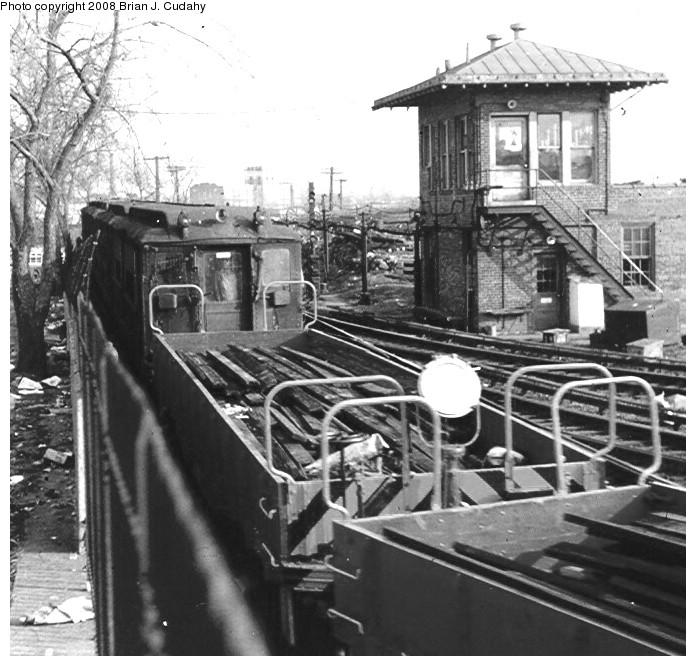 (159k, 696x666)<br><b>Country:</b> United States<br><b>City:</b> New York<br><b>System:</b> New York City Transit<br><b>Location:</b> 239th Street Yard<br><b>Car:</b> Hi-V  <br><b>Photo by:</b> Brian J. Cudahy<br><b>Date:</b> 1970<br><b>Notes:</b> Hi-V cars in work service at 239th Street Yard, ca. 1970.<br><b>Viewed (this week/total):</b> 2 / 2822