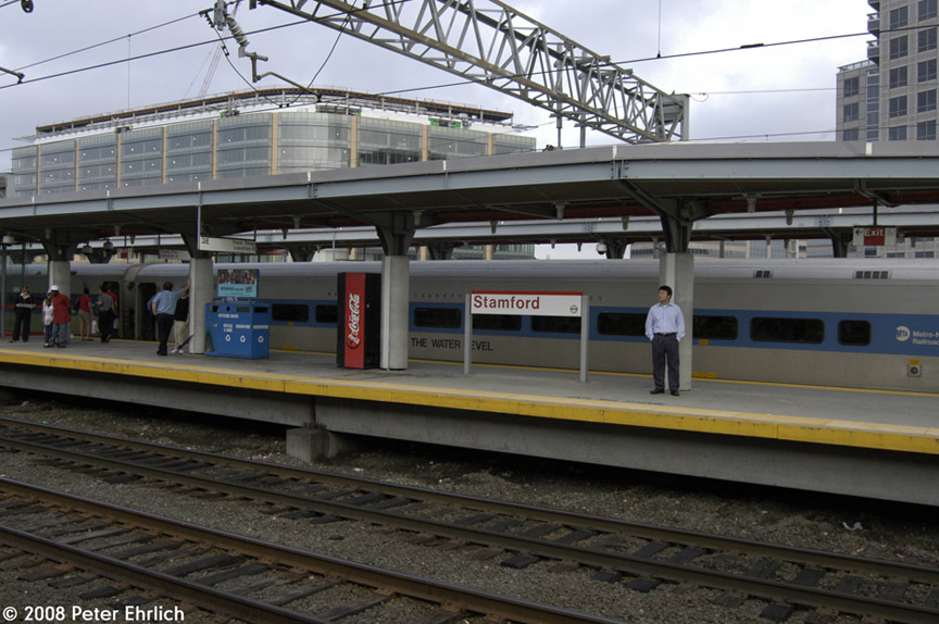 (185k, 864x574)<br><b>Country:</b> United States<br><b>System:</b> Metro-North Railroad (or Amtrak or Predecessor RR)<br><b>Line:</b> Metro North-New Haven Line<br><b>Location:</b> Stamford<br><b>Car:</b> MNRR/CDOT Shoreliner (Bombardier) 6171 <br><b>Photo by:</b> Peter Ehrlich<br><b>Date:</b> 7/22/2008<br><b>Notes:</b> Inbound.  Car is called Water Level Route to commemorate the New York Central heritage (but it's on a New Haven Line train!)<br><b>Viewed (this week/total):</b> 0 / 970