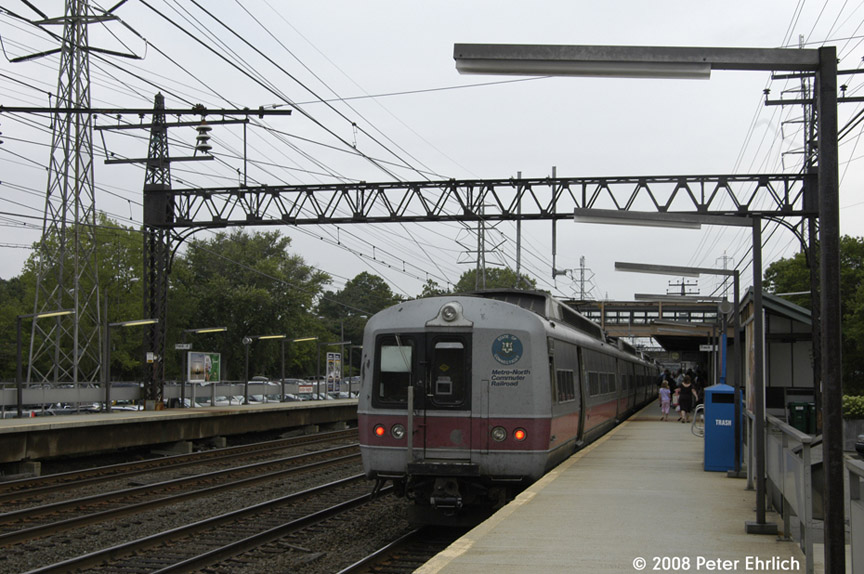 (195k, 864x574)<br><b>Country:</b> United States<br><b>System:</b> Metro-North Railroad (or Amtrak or Predecessor RR)<br><b>Line:</b> Metro North-New Haven Line<br><b>Location:</b> Noroton Heights<br><b>Car:</b> MNRR M-2 EMU (GE/Vickers) 8708 <br><b>Photo by:</b> Peter Ehrlich<br><b>Date:</b> 7/22/2008<br><b>Notes:</b> Inbound.<br><b>Viewed (this week/total):</b> 0 / 954