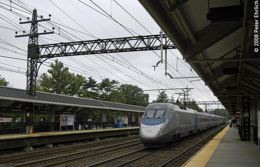 (204k, 864x556)<br><b>Country:</b> United States<br><b>System:</b> Metro-North Railroad (or Amtrak or Predecessor RR)<br><b>Line:</b> Metro North-New Haven Line<br><b>Location:</b> Darien<br><b>Car:</b> Amtrak Acela 2001 <br><b>Photo by:</b> Peter Ehrlich<br><b>Date:</b> 7/22/2008<br><b>Notes:</b> Inbound Amtrak Acela train.<br><b>Viewed (this week/total):</b> 0 / 839
