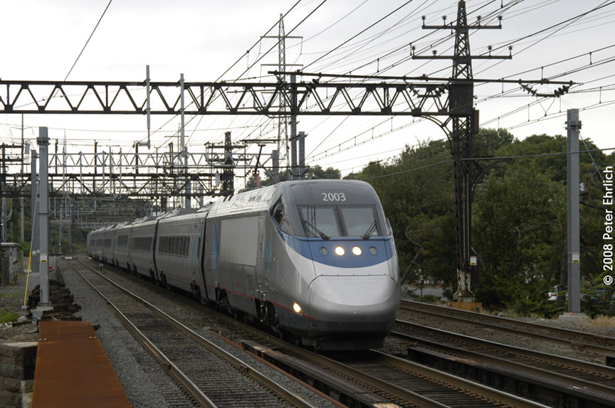 (207k, 864x574)<br><b>Country:</b> United States<br><b>System:</b> Metro-North Railroad (or Amtrak or Predecessor RR)<br><b>Line:</b> Metro North-New Haven Line<br><b>Location:</b> Darien<br><b>Car:</b> Amtrak Acela 2003 <br><b>Photo by:</b> Peter Ehrlich<br><b>Date:</b> 7/22/2008<br><b>Notes:</b> Inbound Amtrak Acela train.<br><b>Viewed (this week/total):</b> 0 / 776