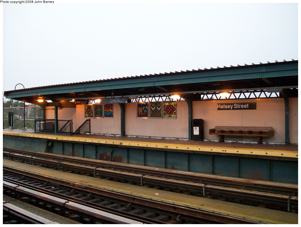 (192k, 1044x788)<br><b>Country:</b> United States<br><b>City:</b> New York<br><b>System:</b> New York City Transit<br><b>Line:</b> BMT Nassau Street-Jamaica Line<br><b>Location:</b> Halsey Street<br><b>Photo by:</b> John Barnes<br><b>Date:</b> 7/27/2008<br><b>Artwork:</b> <i>Ancestral Letters in SOL'SCRYPT</i>, SOL'SAX, 2007<br><b>Viewed (this week/total):</b> 0 / 2237