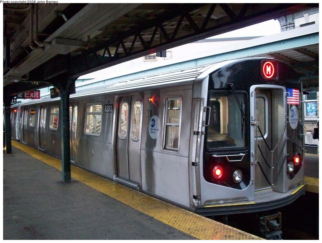 (230k, 1044x788)<br><b>Country:</b> United States<br><b>City:</b> New York<br><b>System:</b> New York City Transit<br><b>Line:</b> BMT Nassau Street-Jamaica Line<br><b>Location:</b> Myrtle Avenue<br><b>Route:</b> M<br><b>Car:</b> R-160A-1 (Alstom, 2005-2008, 4 car sets) 8393 <br><b>Photo by:</b> John Barnes<br><b>Date:</b> 7/27/2008<br><b>Viewed (this week/total):</b> 0 / 2394