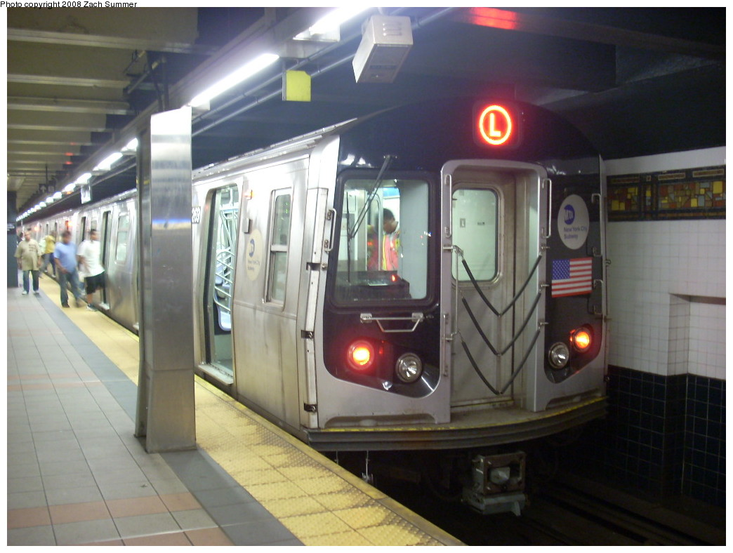 (216k, 1044x788)<br><b>Country:</b> United States<br><b>City:</b> New York<br><b>System:</b> New York City Transit<br><b>Line:</b> BMT Canarsie Line<br><b>Location:</b> Myrtle Avenue<br><b>Route:</b> L<br><b>Car:</b> R-143 (Kawasaki, 2001-2002) 8269 <br><b>Photo by:</b> Zach Summer<br><b>Date:</b> 7/10/2008<br><b>Viewed (this week/total):</b> 1 / 2752