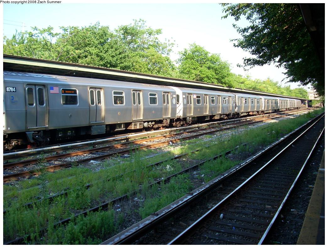 (357k, 1044x788)<br><b>Country:</b> United States<br><b>City:</b> New York<br><b>System:</b> New York City Transit<br><b>Line:</b> BMT Sea Beach Line<br><b>Location:</b> Fort Hamilton Parkway<br><b>Route:</b> N<br><b>Car:</b> R-160B (Kawasaki, 2005-2008) 8784 <br><b>Photo by:</b> Zach Summer<br><b>Date:</b> 7/16/2008<br><b>Viewed (this week/total):</b> 2 / 1925