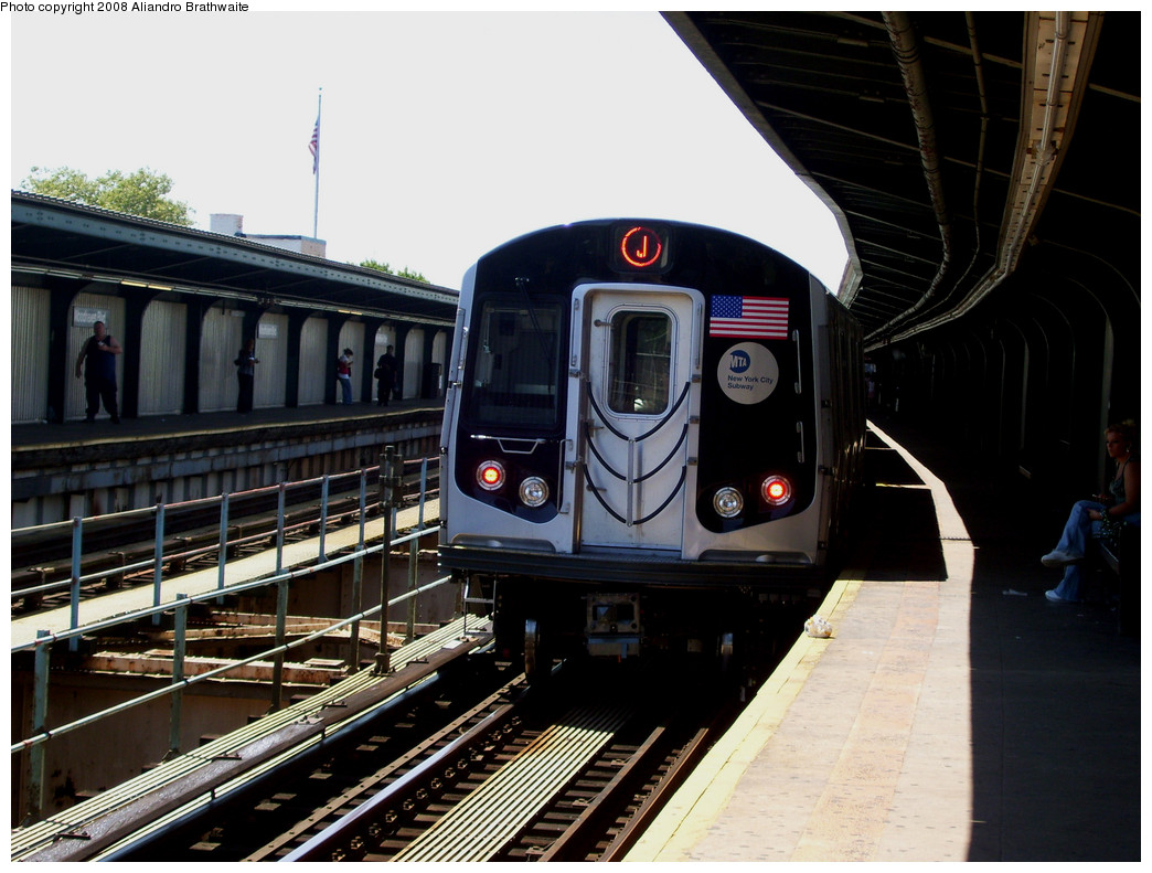 (252k, 1044x791)<br><b>Country:</b> United States<br><b>City:</b> New York<br><b>System:</b> New York City Transit<br><b>Line:</b> BMT Nassau Street-Jamaica Line<br><b>Location:</b> Woodhaven Boulevard<br><b>Route:</b> J<br><b>Car:</b> R-160A-1 (Alstom, 2005-2008, 4 car sets) 8589 <br><b>Photo by:</b> Aliandro Brathwaite<br><b>Date:</b> 8/20/2008<br><b>Viewed (this week/total):</b> 11 / 2292