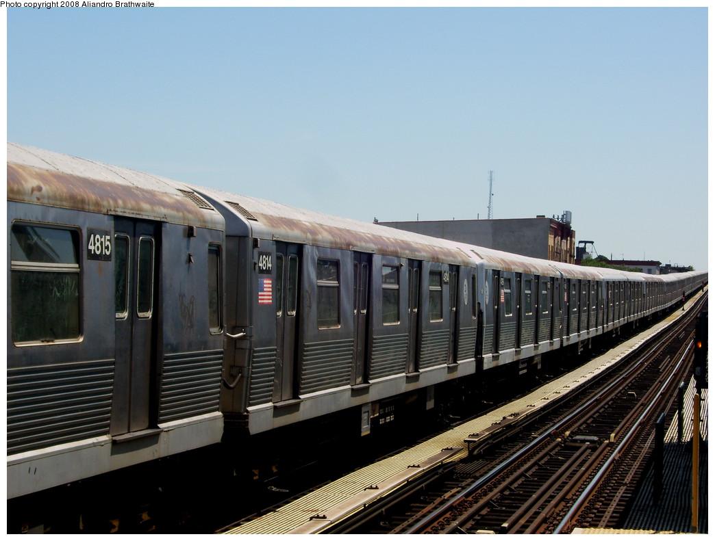 (236k, 1044x791)<br><b>Country:</b> United States<br><b>City:</b> New York<br><b>System:</b> New York City Transit<br><b>Line:</b> BMT Nassau Street-Jamaica Line<br><b>Location:</b> Halsey Street<br><b>Route:</b> Z layover<br><b>Car:</b> R-42 (St. Louis, 1969-1970) 4815 <br><b>Photo by:</b> Aliandro Brathwaite<br><b>Date:</b> 8/20/2008<br><b>Viewed (this week/total):</b> 6 / 1988
