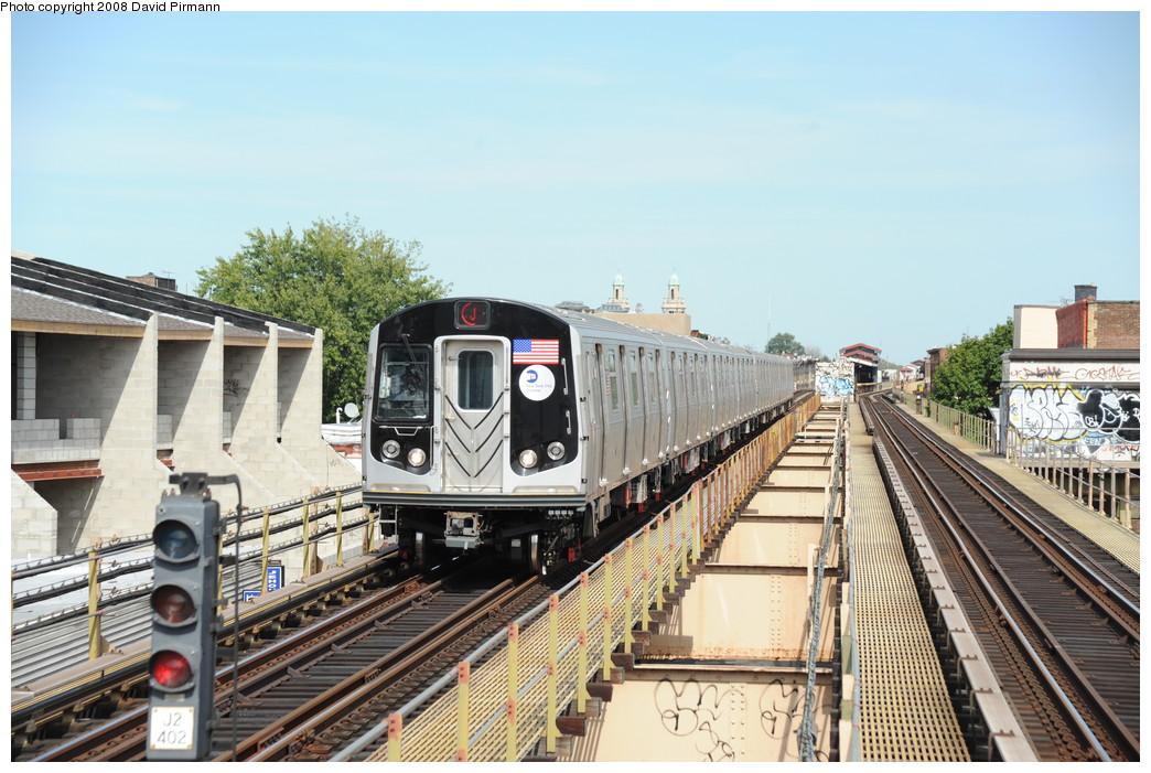 (278k, 1044x701)<br><b>Country:</b> United States<br><b>City:</b> New York<br><b>System:</b> New York City Transit<br><b>Line:</b> BMT Nassau Street-Jamaica Line<br><b>Location:</b> Cleveland Street<br><b>Route:</b> J<br><b>Car:</b> R-160A-1 (Alstom, 2005-2008, 4 car sets) 8529 <br><b>Photo by:</b> David Pirmann<br><b>Date:</b> 8/27/2008<br><b>Viewed (this week/total):</b> 3 / 2079