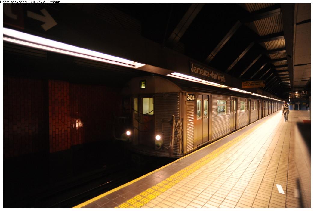 (213k, 1044x701)<br><b>Country:</b> United States<br><b>City:</b> New York<br><b>System:</b> New York City Transit<br><b>Line:</b> IND Queens Boulevard Line<br><b>Location:</b> Jamaica/Van Wyck<br><b>Route:</b> E<br><b>Car:</b> R-32 (Budd, 1964) 3424 <br><b>Photo by:</b> David Pirmann<br><b>Date:</b> 8/27/2008<br><b>Viewed (this week/total):</b> 2 / 1985