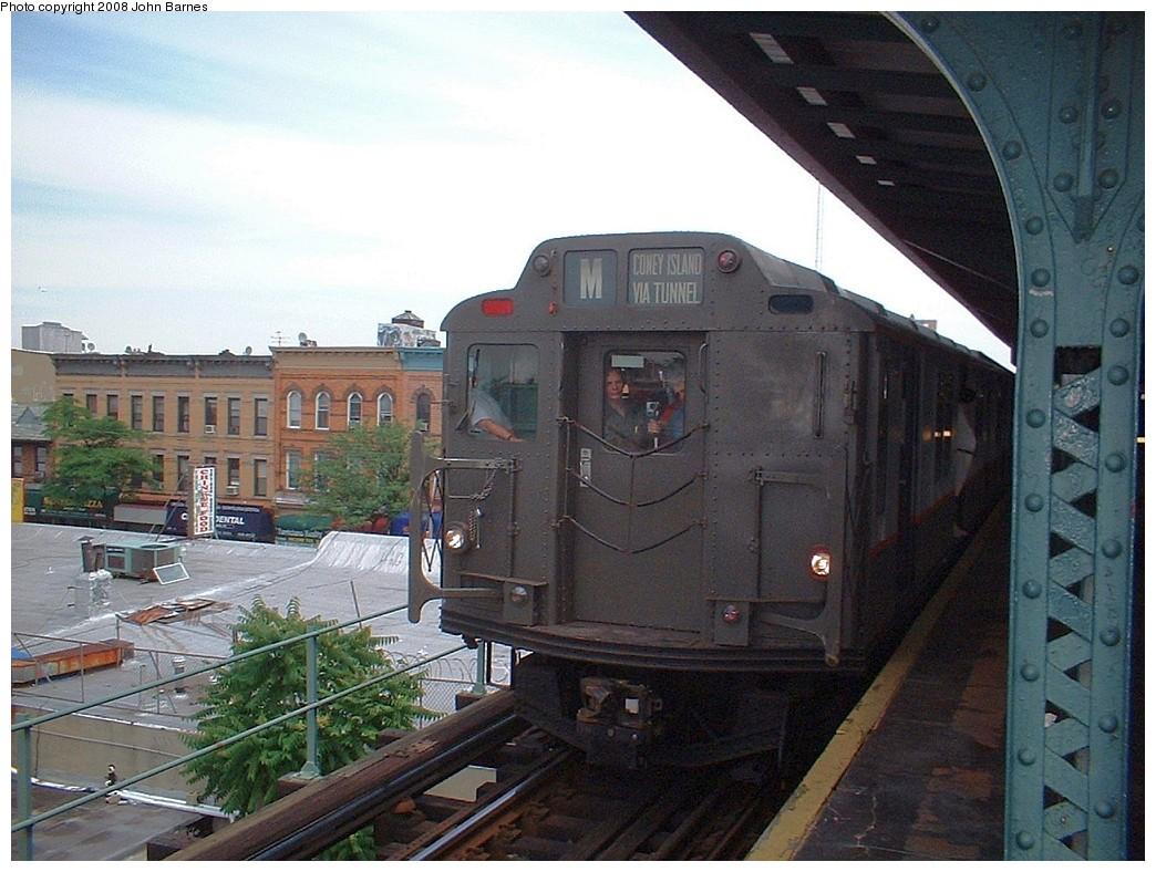 (221k, 1044x788)<br><b>Country:</b> United States<br><b>City:</b> New York<br><b>System:</b> New York City Transit<br><b>Line:</b> BMT Myrtle Avenue Line<br><b>Location:</b> Seneca Avenue<br><b>Route:</b> Fan Trip<br><b>Car:</b> R-7A (Pullman, 1938) 1575 <br><b>Photo by:</b> John Barnes<br><b>Date:</b> 6/28/2003<br><b>Viewed (this week/total):</b> 7 / 2027