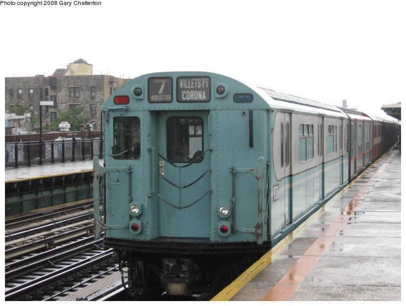 (117k, 820x620)<br><b>Country:</b> United States<br><b>City:</b> New York<br><b>System:</b> New York City Transit<br><b>Line:</b> IRT Flushing Line<br><b>Location:</b> 82nd Street/Jackson Heights<br><b>Route:</b> Museum Train Service (7)<br><b>Car:</b> R-33 World's Fair (St. Louis, 1963-64) 9306 <br><b>Photo by:</b> Gary Chatterton<br><b>Date:</b> 9/28/2008<br><b>Notes:</b> Shea Stadium closing day special<br><b>Viewed (this week/total):</b> 3 / 1960