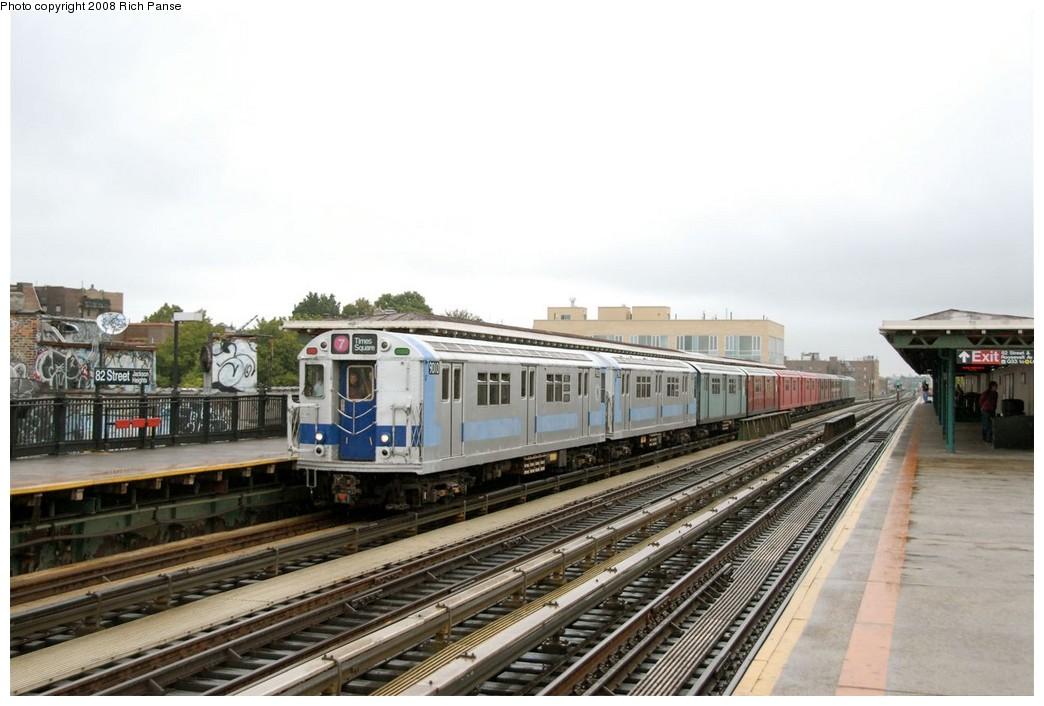 (163k, 1044x706)<br><b>Country:</b> United States<br><b>City:</b> New York<br><b>System:</b> New York City Transit<br><b>Line:</b> IRT Flushing Line<br><b>Location:</b> 82nd Street/Jackson Heights<br><b>Route:</b> Museum Train Service (7)<br><b>Car:</b> R-33 Main Line (St. Louis, 1962-63) 9010 <br><b>Photo by:</b> Richard Panse<br><b>Date:</b> 9/28/2008<br><b>Viewed (this week/total):</b> 3 / 2108