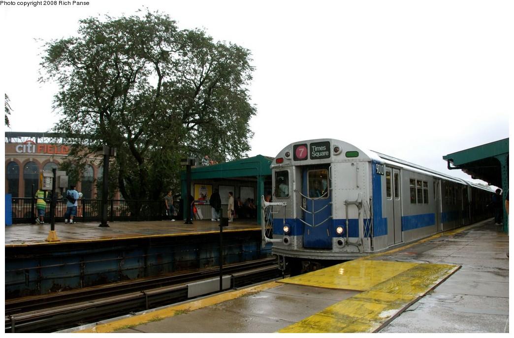 (187k, 1044x686)<br><b>Country:</b> United States<br><b>City:</b> New York<br><b>System:</b> New York City Transit<br><b>Line:</b> IRT Flushing Line<br><b>Location:</b> Willets Point/Mets (fmr. Shea Stadium)<br><b>Route:</b> Museum Train Service (7)<br><b>Car:</b> R-33 Main Line (St. Louis, 1962-63) 9010 <br><b>Photo by:</b> Richard Panse<br><b>Date:</b> 9/28/2008<br><b>Viewed (this week/total):</b> 3 / 1675