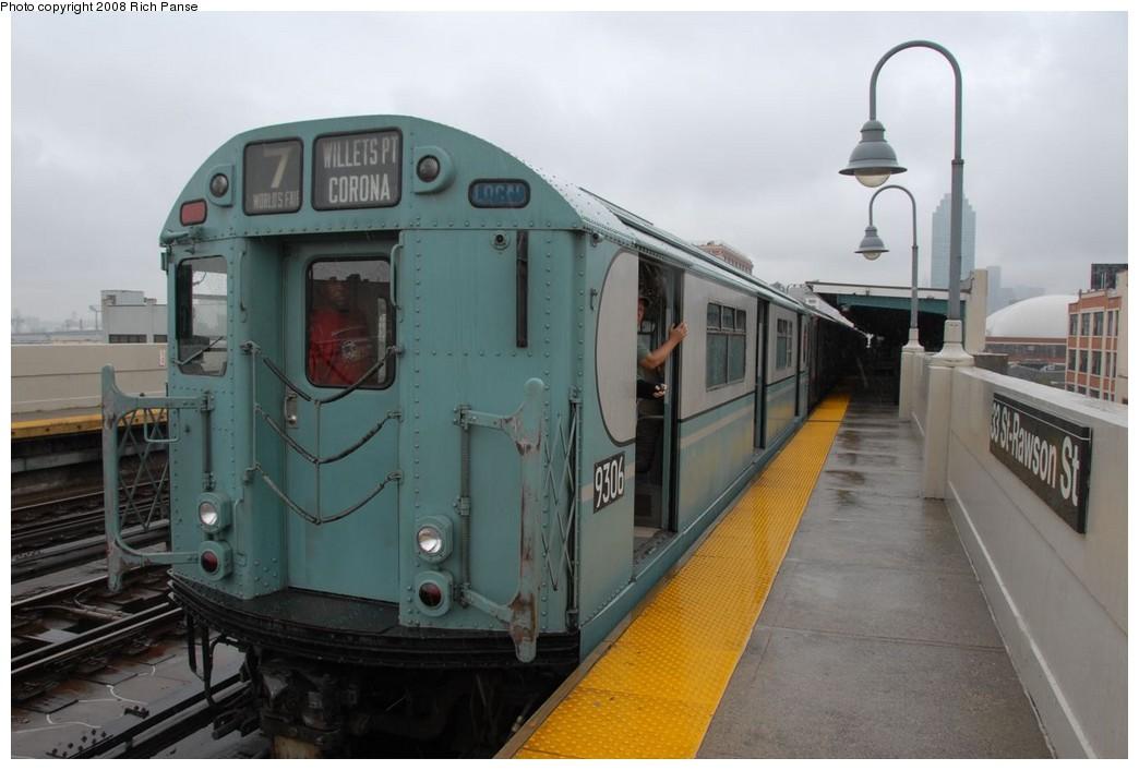 (169k, 1044x706)<br><b>Country:</b> United States<br><b>City:</b> New York<br><b>System:</b> New York City Transit<br><b>Line:</b> IRT Flushing Line<br><b>Location:</b> 33rd Street/Rawson Street<br><b>Route:</b> Museum Train Service (7)<br><b>Car:</b> R-33 World's Fair (St. Louis, 1963-64) 9306 <br><b>Photo by:</b> Richard Panse<br><b>Date:</b> 9/28/2008<br><b>Viewed (this week/total):</b> 1 / 1745