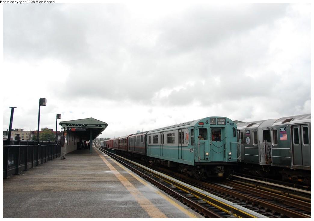 (130k, 1044x733)<br><b>Country:</b> United States<br><b>City:</b> New York<br><b>System:</b> New York City Transit<br><b>Line:</b> IRT Flushing Line<br><b>Location:</b> 69th Street/Fisk Avenue<br><b>Route:</b> Museum Train Service (7)<br><b>Car:</b> R-33 World's Fair (St. Louis, 1963-64) 9306 <br><b>Photo by:</b> Richard Panse<br><b>Date:</b> 9/28/2008<br><b>Viewed (this week/total):</b> 1 / 1647