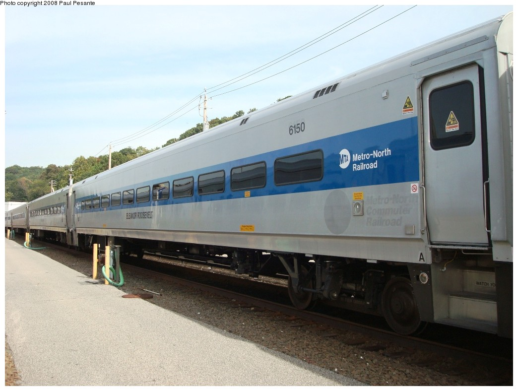 (187k, 1044x788)<br><b>Country:</b> United States<br><b>System:</b> Metro-North Railroad (or Amtrak or Predecessor RR)<br><b>Line:</b> Metro North-Harlem Line<br><b>Location:</b> North White Plains Yard<br><b>Car:</b> MNRR/CDOT Shoreliner (Bombardier) 6150 <br><b>Photo by:</b> Paul Pesante<br><b>Date:</b> 10/8/2008<br><b>Notes:</b> Bombardier Shoreliner I Trailer 6150 ELEANOR ROOSEVELT Track 24 at North White Plains Yard. The photographer is a railroad employee on railroad property with permission, and would like to remind everyone to keep railfanning legal and safe- Do not enter restricted areas!<br><b>Viewed (this week/total):</b> 1 / 1539
