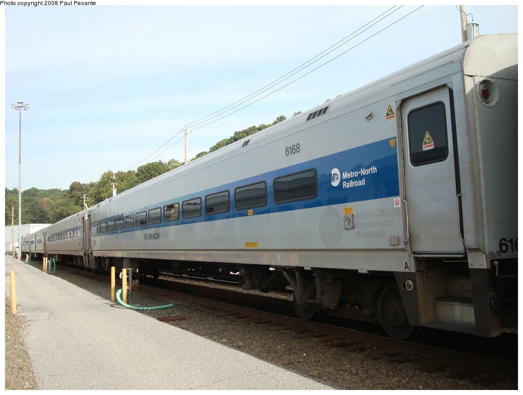 (181k, 1044x788)<br><b>Country:</b> United States<br><b>System:</b> Metro-North Railroad (or Amtrak or Predecessor RR)<br><b>Line:</b> Metro North-Harlem Line<br><b>Location:</b> North White Plains Yard<br><b>Car:</b> MNRR/CDOT Shoreliner (Bombardier) 6168 <br><b>Photo by:</b> Paul Pesante<br><b>Date:</b> 10/8/2008<br><b>Notes:</b> Bombardier Shoreliner I Trailer 6168 THE MAHICAN Track 24 at North White Plains Yard. The photographer is a railroad employee on railroad property with permission, and would like to remind everyone to keep railfanning legal and safe- Do not enter restricted areas!<br><b>Viewed (this week/total):</b> 2 / 1274