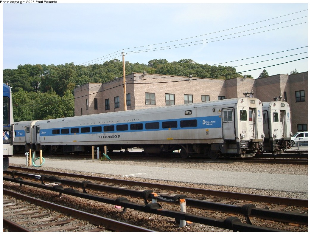 (262k, 1044x788)<br><b>Country:</b> United States<br><b>System:</b> Metro-North Railroad (or Amtrak or Predecessor RR)<br><b>Line:</b> Metro North-Harlem Line<br><b>Location:</b> North White Plains Yard<br><b>Car:</b> MNRR/CDOT Shoreliner (Bombardier) 6115 <br><b>Photo by:</b> Paul Pesante<br><b>Date:</b> 10/8/2008<br><b>Notes:</b> Full view of Bombadier Shoreliner I 6115 THE KNICKERBOCKER on Track 25 at North White Plains Yard. The photographer is a railroad employee on railroad property with permission, and would like to remind everyone to keep railfanning legal and safe- Do not enter restricted areas!<br><b>Viewed (this week/total):</b> 0 / 1743