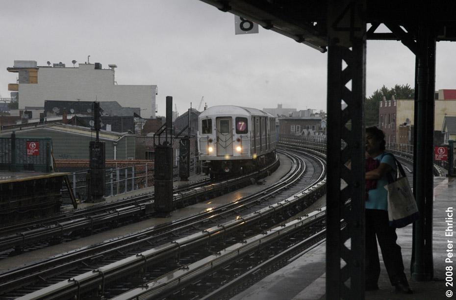 (171k, 930x612)<br><b>Country:</b> United States<br><b>City:</b> New York<br><b>System:</b> New York City Transit<br><b>Line:</b> IRT Flushing Line<br><b>Location:</b> 103rd Street/Corona Plaza<br><b>Route:</b> 7<br><b>Car:</b> R-62A (Bombardier, 1984-1987) 1656 <br><b>Photo by:</b> Peter Ehrlich<br><b>Date:</b> 9/28/2008<br><b>Notes:</b> 103 St-Corona Plaza, inbound train.<br><b>Viewed (this week/total):</b> 3 / 1802