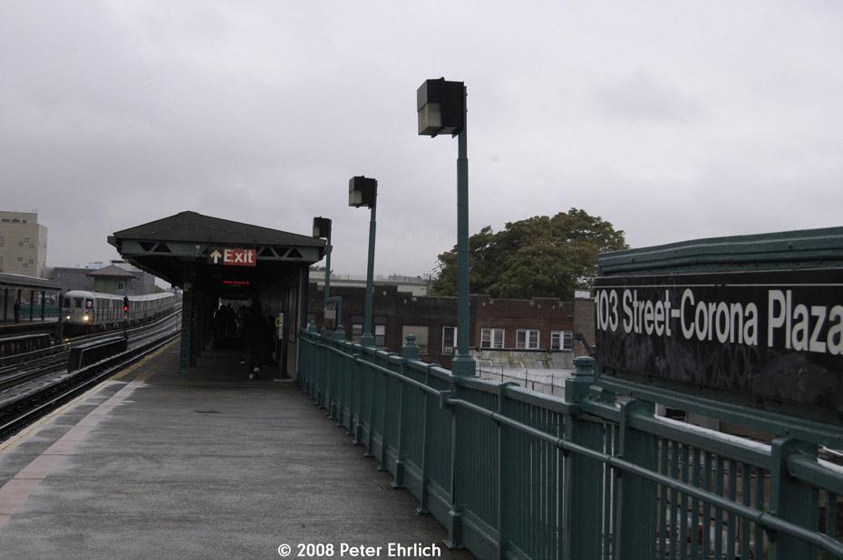 (147k, 930x618)<br><b>Country:</b> United States<br><b>City:</b> New York<br><b>System:</b> New York City Transit<br><b>Line:</b> IRT Flushing Line<br><b>Location:</b> 103rd Street/Corona Plaza<br><b>Route:</b> 7<br><b>Car:</b> R-62A (Bombardier, 1984-1987) 2062 <br><b>Photo by:</b> Peter Ehrlich<br><b>Date:</b> 9/28/2008<br><b>Notes:</b> 103 St-Corona Plaza, inbound train.<br><b>Viewed (this week/total):</b> 2 / 2064
