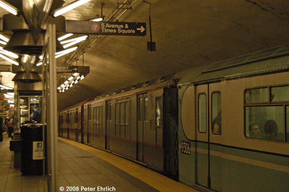 (222k, 930x618)<br><b>Country:</b> United States<br><b>City:</b> New York<br><b>System:</b> New York City Transit<br><b>Line:</b> IRT Flushing Line<br><b>Location:</b> Grand Central<br><b>Route:</b> Museum Train Service (7)<br><b>Car:</b> R-12 (American Car & Foundry, 1948) 5760 <br><b>Photo by:</b> Peter Ehrlich<br><b>Date:</b> 9/28/2008<br><b>Notes:</b> Grand Central inbound, trailing view.<br><b>Viewed (this week/total):</b> 4 / 2587