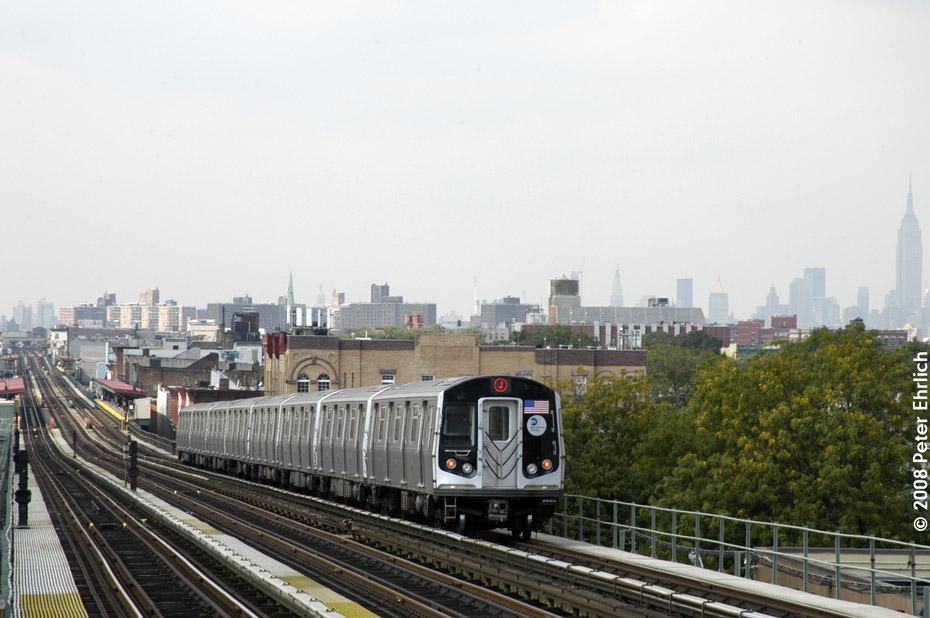 (185k, 930x618)<br><b>Country:</b> United States<br><b>City:</b> New York<br><b>System:</b> New York City Transit<br><b>Line:</b> BMT Nassau Street-Jamaica Line<br><b>Location:</b> Chauncey Street<br><b>Route:</b> M<br><b>Car:</b> R-160A-1 (Alstom, 2005-2008, 4 car sets) 8448 <br><b>Photo by:</b> Peter Ehrlich<br><b>Date:</b> 9/30/2008<br><b>Notes:</b> Inbound train.<br><b>Viewed (this week/total):</b> 1 / 2754