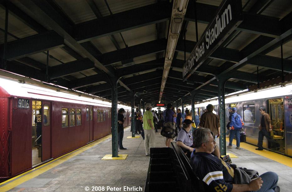 (203k, 930x611)<br><b>Country:</b> United States<br><b>City:</b> New York<br><b>System:</b> New York City Transit<br><b>Line:</b> IRT Flushing Line<br><b>Location:</b> Willets Point/Mets (fmr. Shea Stadium)<br><b>Route:</b> Museum Train Service (7)<br><b>Car:</b> R-33 Main Line (St. Louis, 1962-63) 9016 <br><b>Photo by:</b> Peter Ehrlich<br><b>Date:</b> 9/28/2008<br><b>Viewed (this week/total):</b> 3 / 2226