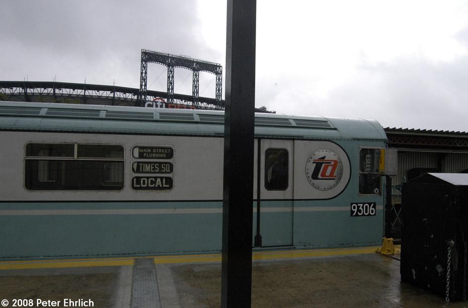 (140k, 930x612)<br><b>Country:</b> United States<br><b>City:</b> New York<br><b>System:</b> New York City Transit<br><b>Line:</b> IRT Flushing Line<br><b>Location:</b> Willets Point/Mets (fmr. Shea Stadium)<br><b>Route:</b> Museum Train Service (7)<br><b>Car:</b> R-33 World's Fair (St. Louis, 1963-64) 9306 <br><b>Photo by:</b> Peter Ehrlich<br><b>Date:</b> 9/28/2008<br><b>Viewed (this week/total):</b> 4 / 1722