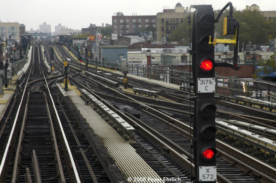 (227k, 930x618)<br><b>Country:</b> United States<br><b>City:</b> New York<br><b>System:</b> New York City Transit<br><b>Line:</b> IRT Flushing Line<br><b>Location:</b> 74th Street/Broadway<br><b>Photo by:</b> Peter Ehrlich<br><b>Date:</b> 9/28/2008<br><b>Notes:</b> New crossovers east of 74 St-Broadway Station, replacing the old ones between 61 St and 69 St.<br><b>Viewed (this week/total):</b> 3 / 1669