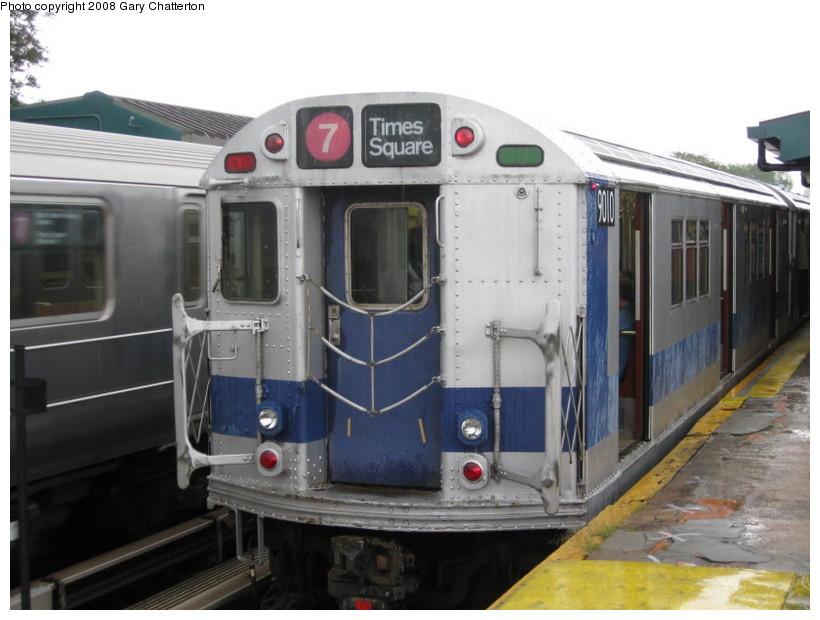 (116k, 820x620)<br><b>Country:</b> United States<br><b>City:</b> New York<br><b>System:</b> New York City Transit<br><b>Line:</b> IRT Flushing Line<br><b>Location:</b> Willets Point/Mets (fmr. Shea Stadium)<br><b>Route:</b> Museum Train Service (7)<br><b>Car:</b> R-33 Main Line (St. Louis, 1962-63) 9010 <br><b>Photo by:</b> Gary Chatterton<br><b>Date:</b> 9/28/2008<br><b>Viewed (this week/total):</b> 1 / 2235