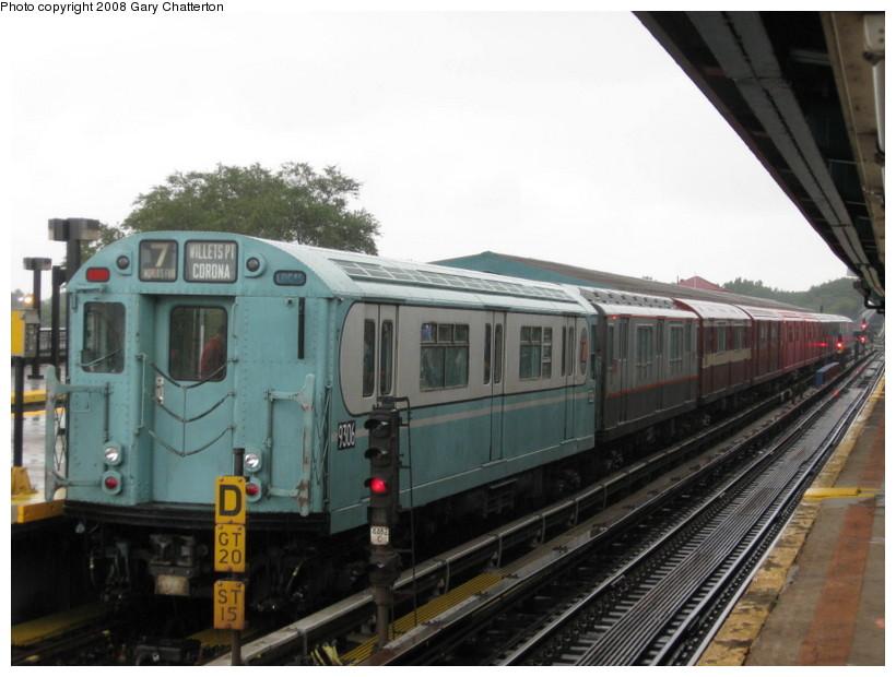 (119k, 820x620)<br><b>Country:</b> United States<br><b>City:</b> New York<br><b>System:</b> New York City Transit<br><b>Line:</b> IRT Flushing Line<br><b>Location:</b> Willets Point/Mets (fmr. Shea Stadium)<br><b>Route:</b> Museum Train Service (7)<br><b>Car:</b> R-33 World's Fair (St. Louis, 1963-64) 9306 <br><b>Photo by:</b> Gary Chatterton<br><b>Date:</b> 9/28/2008<br><b>Viewed (this week/total):</b> 3 / 1542