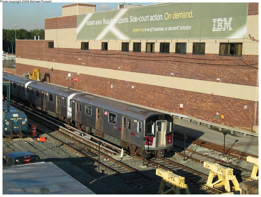 (364k, 1044x788)<br><b>Country:</b> United States<br><b>City:</b> New York<br><b>System:</b> New York City Transit<br><b>Location:</b> Corona Yard<br><b>Car:</b> R-142A (Option Order, Kawasaki, 2002-2003) 7695 <br><b>Photo by:</b> Michael Pompili<br><b>Date:</b> 10/20/2003<br><b>Viewed (this week/total):</b> 1 / 2076