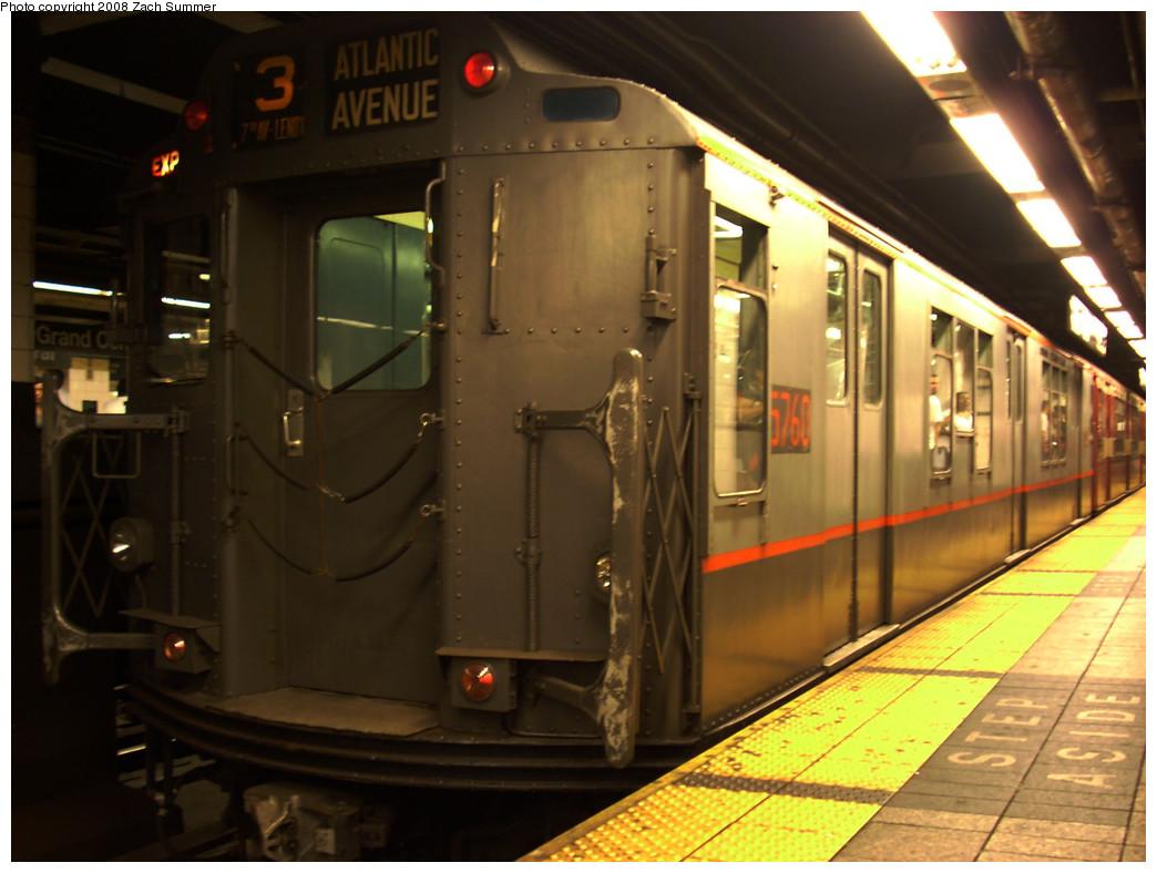 (237k, 1044x788)<br><b>Country:</b> United States<br><b>City:</b> New York<br><b>System:</b> New York City Transit<br><b>Line:</b> IRT East Side Line<br><b>Location:</b> Grand Central<br><b>Route:</b> NT<br><b>Car:</b> R-12 (American Car & Foundry, 1948) 5760 <br><b>Photo by:</b> Zach Summer<br><b>Date:</b> 8/2/2008<br><b>Viewed (this week/total):</b> 1 / 1798