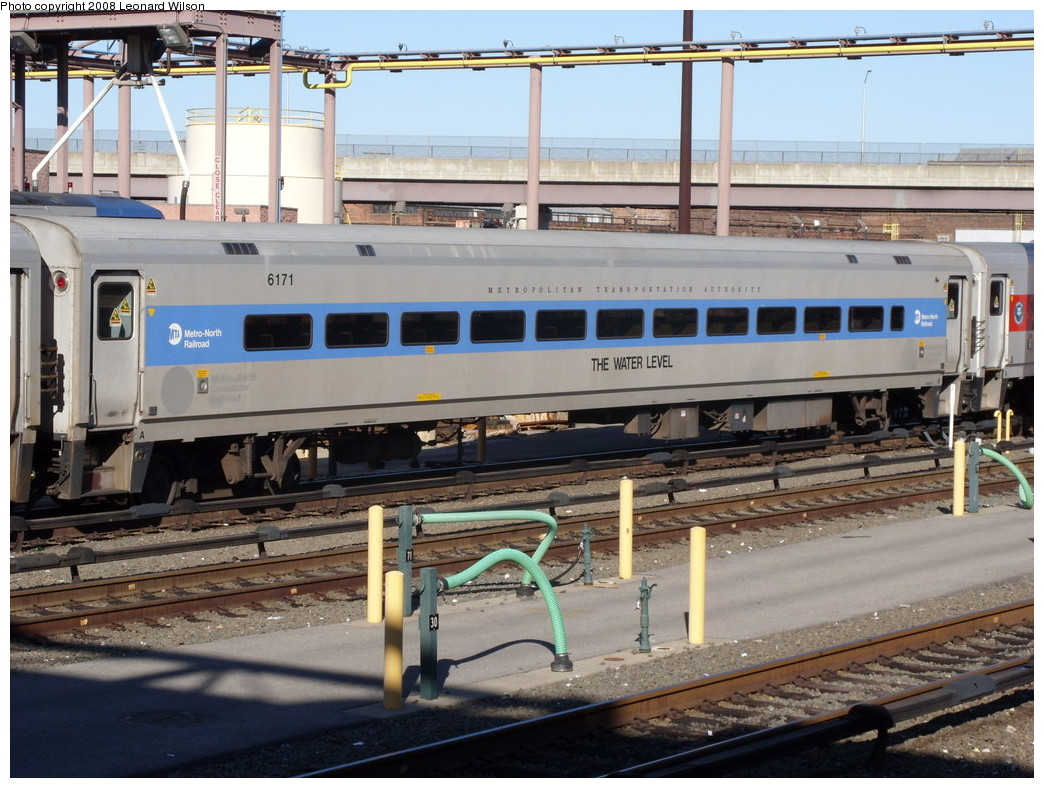 (273k, 1044x788)<br><b>Country:</b> United States<br><b>System:</b> Metro-North Railroad (or Amtrak or Predecessor RR)<br><b>Line:</b> Metro North-Hudson Line<br><b>Location:</b> MNRR Croton-Harmon Shops/Yard<br><b>Car:</b> MNRR/CDOT Shoreliner (Bombardier) 6171 <br><b>Photo by:</b> Leonard Wilson<br><b>Date:</b> 10/11/2008<br><b>Notes:</b> Shoreliner 6171, The Water Level<br><b>Viewed (this week/total):</b> 0 / 2023
