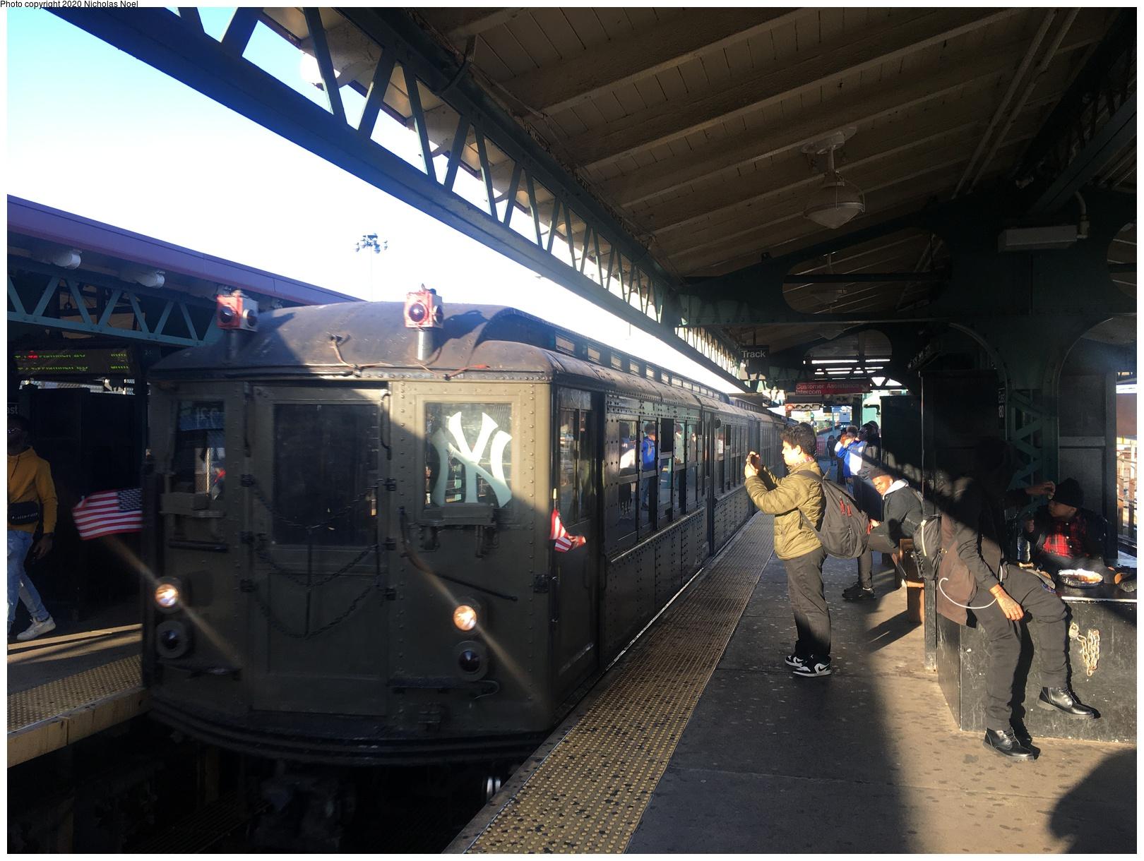 (619k, 1620x1220)<br><b>Country:</b> United States<br><b>City:</b> New York<br><b>System:</b> New York City Transit<br><b>Line:</b> IRT White Plains Road Line<br><b>Location:</b> East 180th Street<br><b>Route:</b> Museum Train Service<br><b>Car:</b> Low-V (Museum Train) 5443 <br><b>Photo by:</b> Nicholas Noel<br><b>Date:</b> 10/18/2019<br><b>Viewed (this week/total):</b> 0 / 253