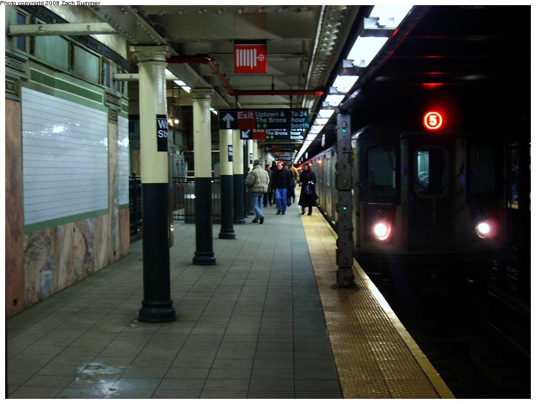 (231k, 1044x788)<br><b>Country:</b> United States<br><b>City:</b> New York<br><b>System:</b> New York City Transit<br><b>Line:</b> IRT East Side Line<br><b>Location:</b> Wall Street<br><b>Route:</b> 5<br><b>Car:</b> R-142 or R-142A (Number Unknown)  <br><b>Photo by:</b> Zach Summer<br><b>Date:</b> 12/22/2008<br><b>Viewed (this week/total):</b> 1 / 3460