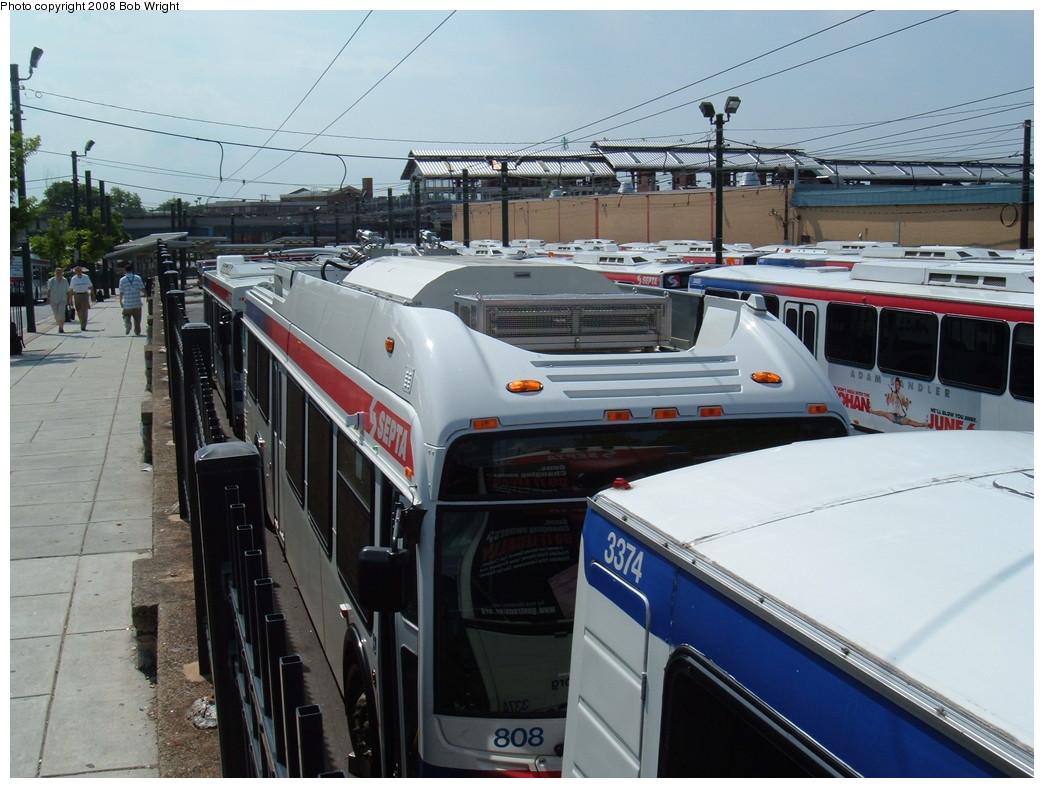 (223k, 1044x788)<br><b>Country:</b> United States<br><b>City:</b> Philadelphia, PA<br><b>System:</b> SEPTA (or Predecessor)<br><b>Line:</b> SEPTA Trackless Trolley Routes<br><b>Car:</b> SEPTA New Flyer E40LF Trackless (2007) 808 <br><b>Photo by:</b> Bob Wright<br><b>Date:</b> 2008<br><b>Viewed (this week/total):</b> 1 / 1482