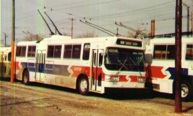 (84k, 660x397)<br><b>Country:</b> United States<br><b>City:</b> Philadelphia, PA<br><b>System:</b> SEPTA (or Predecessor)<br><b>Line:</b> SEPTA Trackless Trolley Routes<br><b>Car:</b> PTC/SEPTA AM General 10240-E Trackless (1979) 823 <br><b>Photo by:</b> Bob Wright<br><b>Date:</b> 1980<br><b>Viewed (this week/total):</b> 1 / 1154