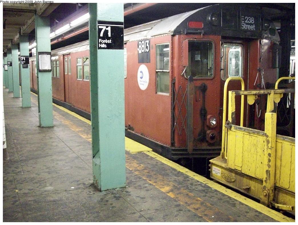 (281k, 1044x788)<br><b>Country:</b> United States<br><b>City:</b> New York<br><b>System:</b> New York City Transit<br><b>Line:</b> IND Queens Boulevard Line<br><b>Location:</b> 71st/Continental Aves./Forest Hills<br><b>Route:</b> Work Service<br><b>Car:</b> R-33 Main Line (St. Louis, 1962-63) 8813 <br><b>Photo by:</b> John Barnes<br><b>Date:</b> 11/8/2008<br><b>Viewed (this week/total):</b> 6 / 2521