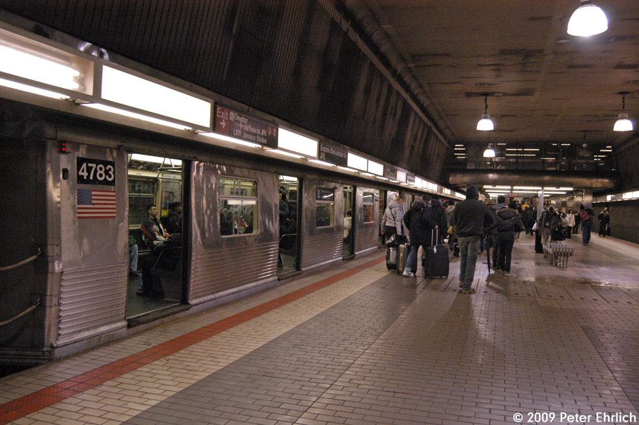 (231k, 930x618)<br><b>Country:</b> United States<br><b>City:</b> New York<br><b>System:</b> New York City Transit<br><b>Line:</b> IND Queens Boulevard Line<br><b>Location:</b> Sutphin Blvd.-Archer Ave./JFK<br><b>Route:</b> E<br><b>Car:</b> R-42 (St. Louis, 1969-1970) 4783 <br><b>Photo by:</b> Peter Ehrlich<br><b>Date:</b> 1/7/2009<br><b>Notes:</b> Upper level, outbound.<br><b>Viewed (this week/total):</b> 2 / 2102