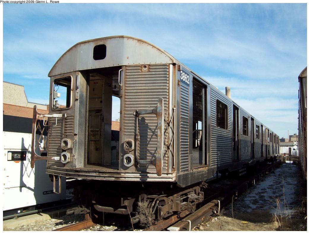 (230k, 1044x788)<br><b>Country:</b> United States<br><b>City:</b> New York<br><b>System:</b> New York City Transit<br><b>Location:</b> 207th Street Yard<br><b>Car:</b> R-32 (Budd, 1964) 3862 <br><b>Photo by:</b> Glenn L. Rowe<br><b>Date:</b> 1/26/2009<br><b>Notes:</b> Scrap<br><b>Viewed (this week/total):</b> 1 / 1222