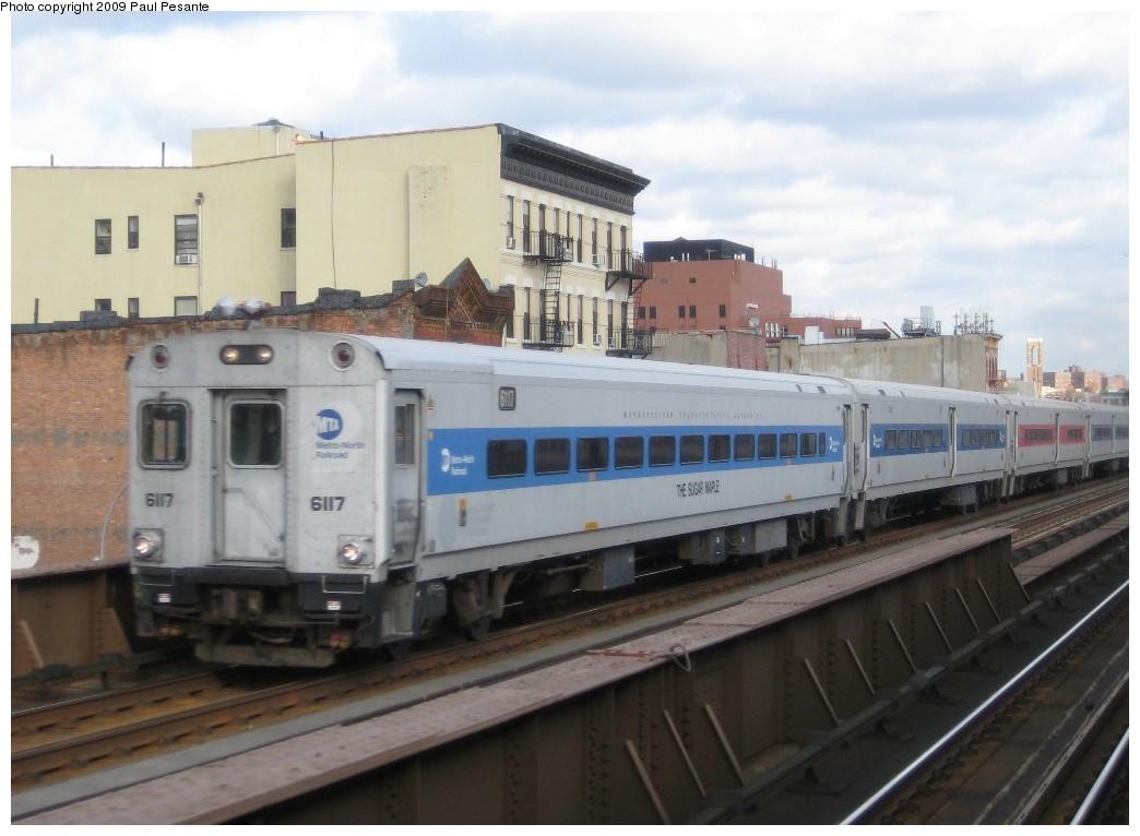 (160k, 1044x766)<br><b>Country:</b> United States<br><b>City:</b> New York<br><b>System:</b> Metro-North Railroad (or Amtrak or Predecessor RR)<br><b>Line:</b> Metro-North Grand Central/Park Avenue Tunnel<br><b>Location:</b> MNRR 125th Street<br><b>Car:</b> MNRR/CDOT Shoreliner (Bombardier) 6117 <br><b>Photo by:</b> Paul Pesante<br><b>Date:</b> 11/26/2008<br><b>Notes:</b> Bombardier Shoreliner I Cab # 6117 THE SUGAR MAPLE southbound on Track 4 south of Harlem-125th Street<br><b>Viewed (this week/total):</b> 6 / 2110