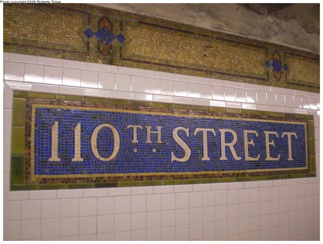 (246k, 1044x788)<br><b>Country:</b> United States<br><b>City:</b> New York<br><b>System:</b> New York City Transit<br><b>Line:</b> IRT East Side Line<br><b>Location:</b> 110th Street<br><b>Photo by:</b> Roberto C. Tobar<br><b>Date:</b> 3/6/2009<br><b>Notes:</b> Station name mosaic.<br><b>Viewed (this week/total):</b> 0 / 1868